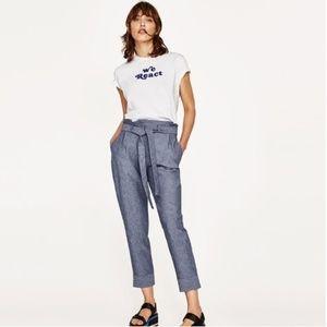 Zara Chambray Paperbag Trousers sz S
